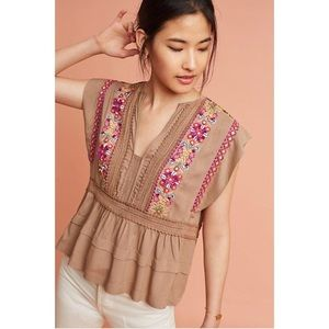 Anthropologie Sedona embroidered top